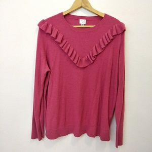 A New Day bright pink ruffle sweater
